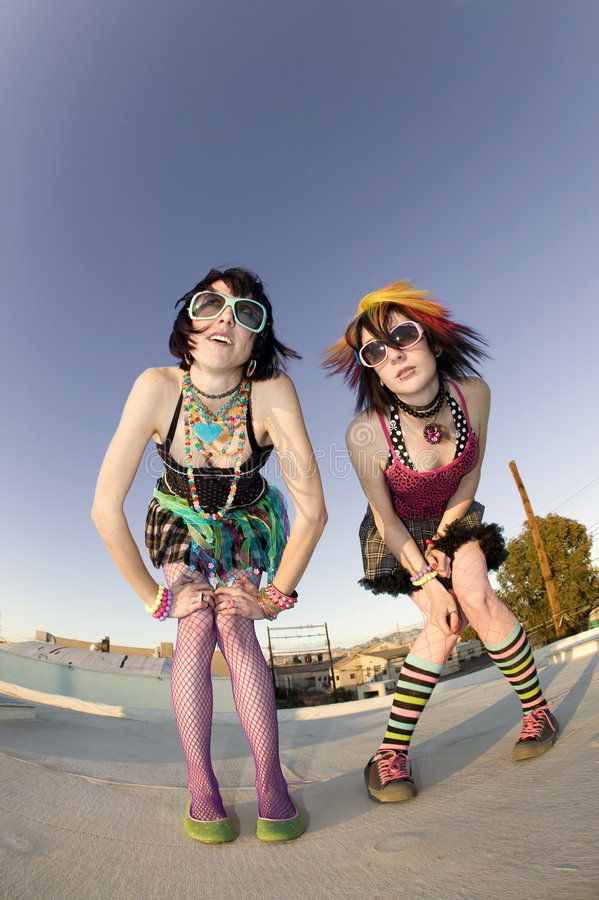 Punk Girls on a Roof royalty free stock photo