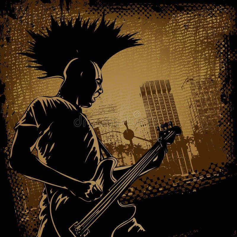 Punk gitaarspeler in retro stijl royalty-vrije illustratie