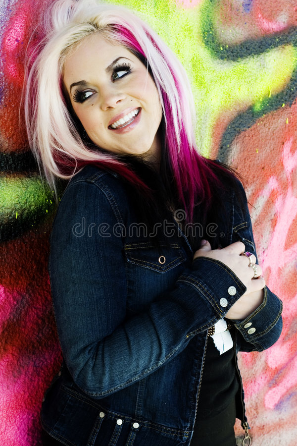 Punk gothic fashion model. A punk gothic style fashion model in an urban setting stock photo