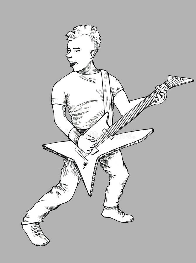 Download Punk guitarist sketch stock illustration. Illustration of punks - 34337568