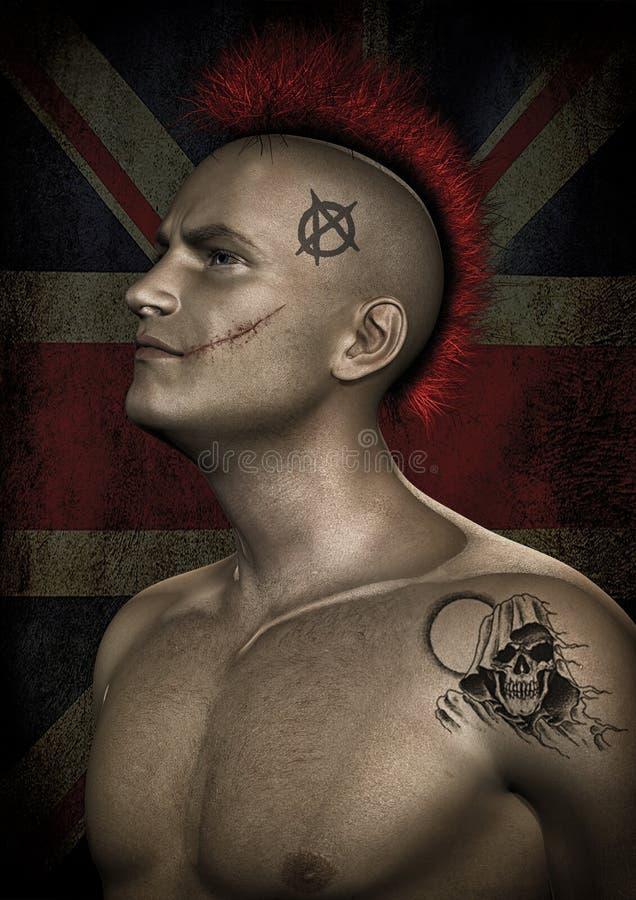 Punk guy portrait royalty free illustration