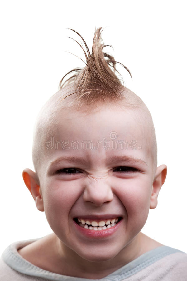 Punk hair child grin stock photo