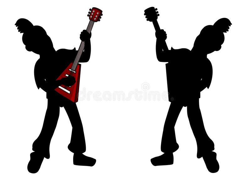 Punk kids guitarist silhouette royalty free stock image