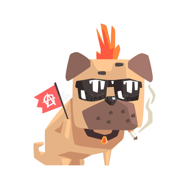 Punk Little Pet Pug Dog Puppy With Collar Smoking And Holding Anarchy Flag Emoji Cartoon Illustration stock illustration