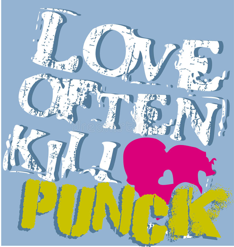 Punk love graphic vector illustration