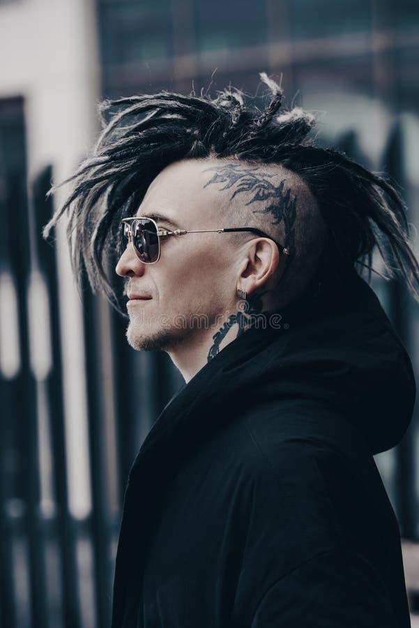 Punk man on street stock photos