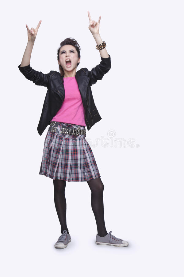 Punk Rock Girl Gesturing Stock Photography