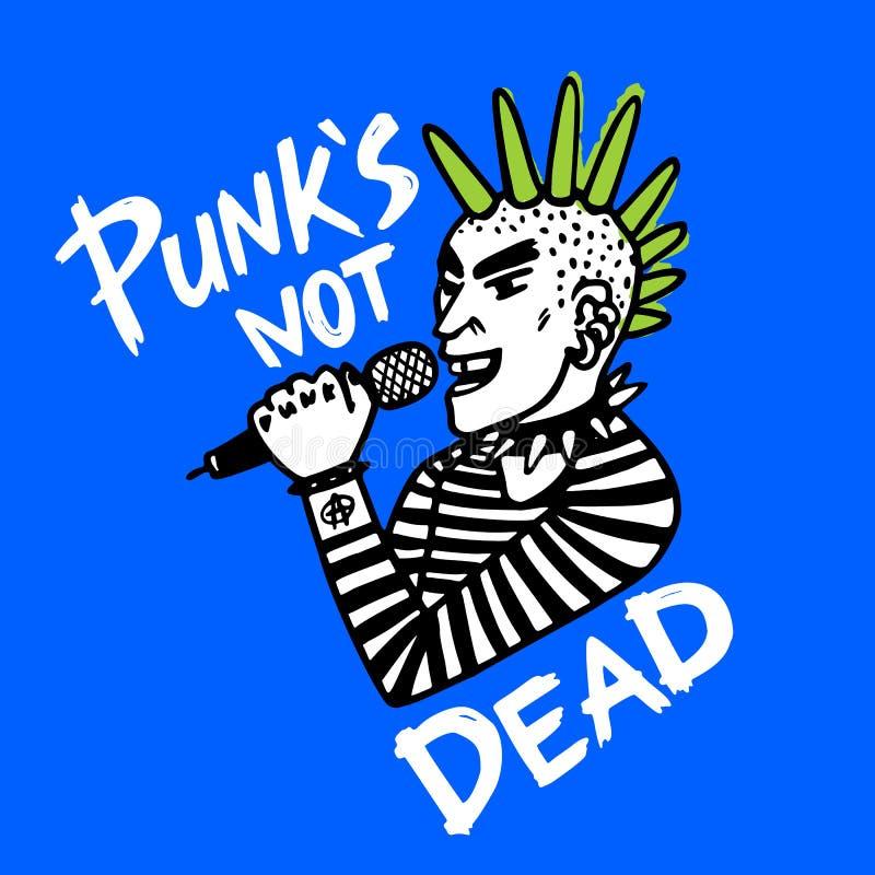 Punk rock set. Punks not dead words and design elements. vector illustration. stock illustration
