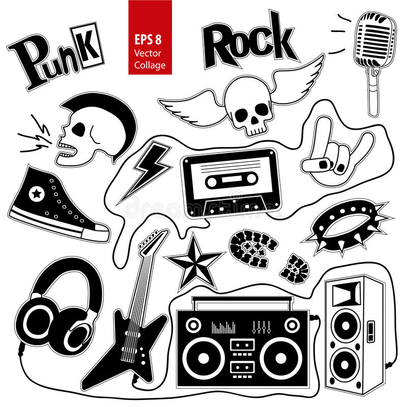 Punk rock music vector set on white background. Design elements, emblems, badges, logo and icons, collage. vector illustration
