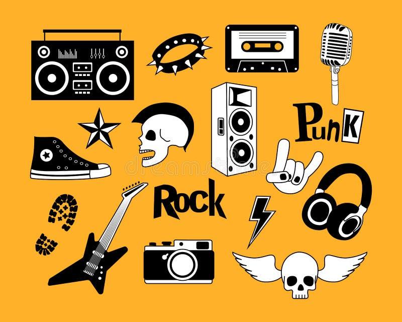 Punk rock-Musikvektor auf gelbem Hintergrundsatz Gestaltungselemente, Embleme, Ausweise, Logo und Ikonen lizenzfreie abbildung