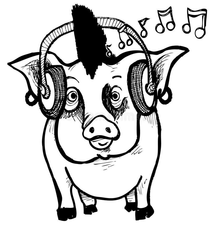 Punk Rock Piggy stock vector. Illustration of funny, music - 20521596