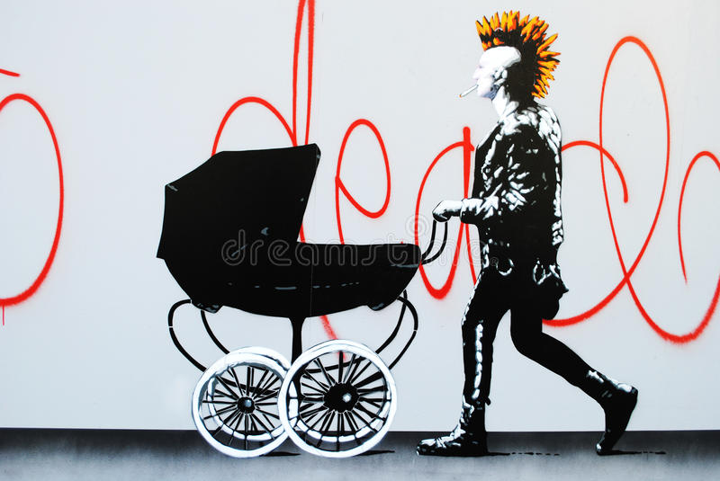 Punk rock street art royalty free stock photography