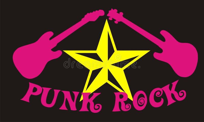 Punk rock vector. Vector illustration punk rock guitar and star stock illustration