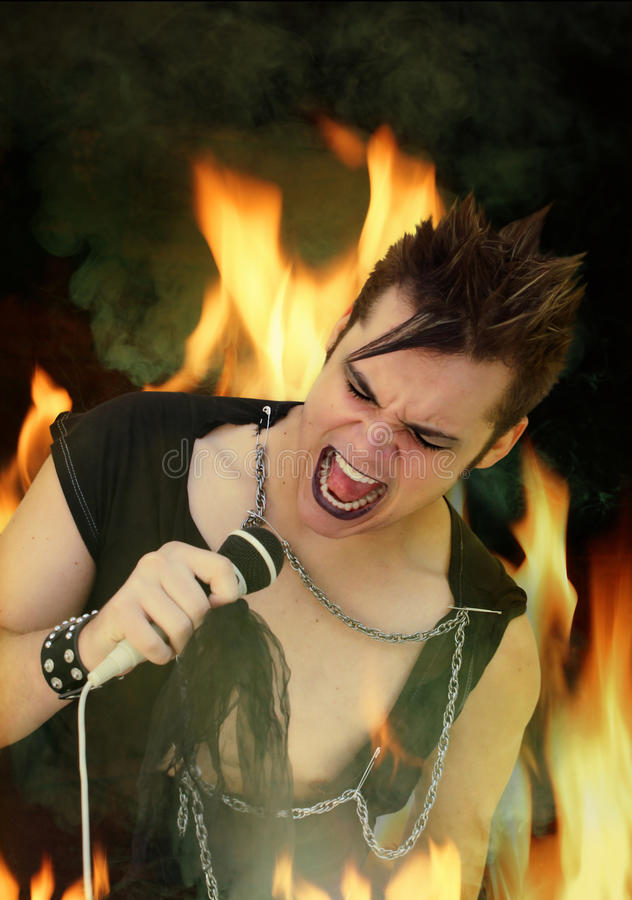 Punk Rocker. A Punk Rock singer surrounded by flames and smoke