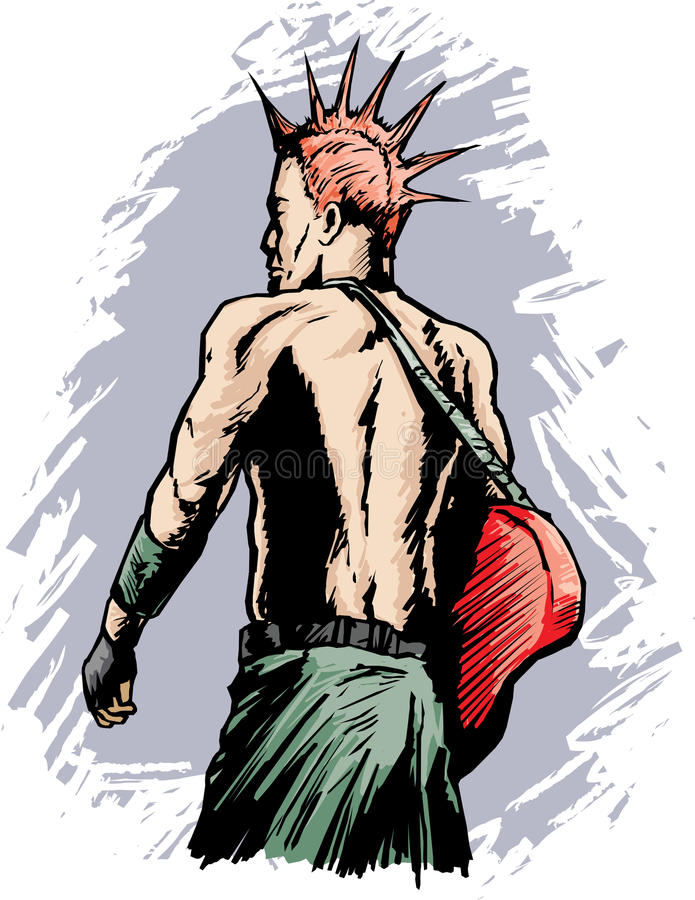 Punk rocker. Grungy drawing of a punk rocker royalty free illustration