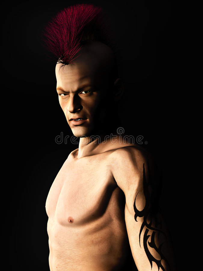 Punk rocker. A male punk rocker with a mohawk hair and a tattoo on his arm stock illustration