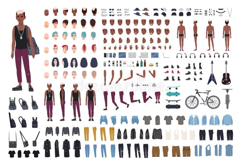 Punk rocker DIY or animation kit. Bundle of young male character or teen body elements, postures, outfit, counterculture vector illustration