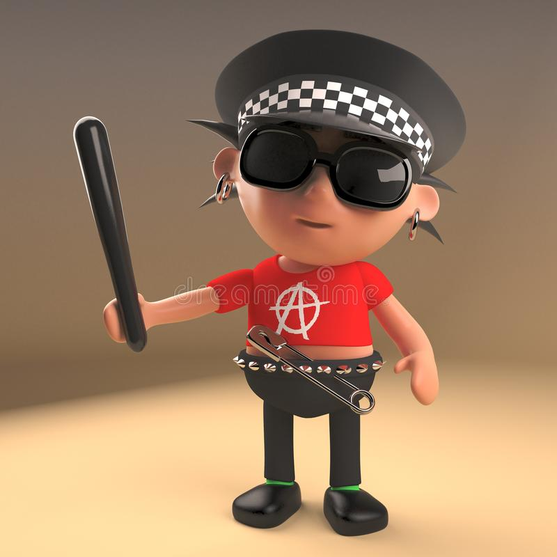 Punk rocker has joined the police force, 3d illustration. Render stock illustration