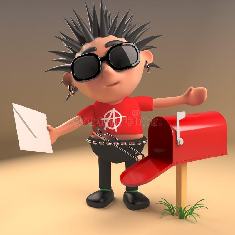Punk rocker has received mail in his mailbox, 3d illustration. Render vector illustration