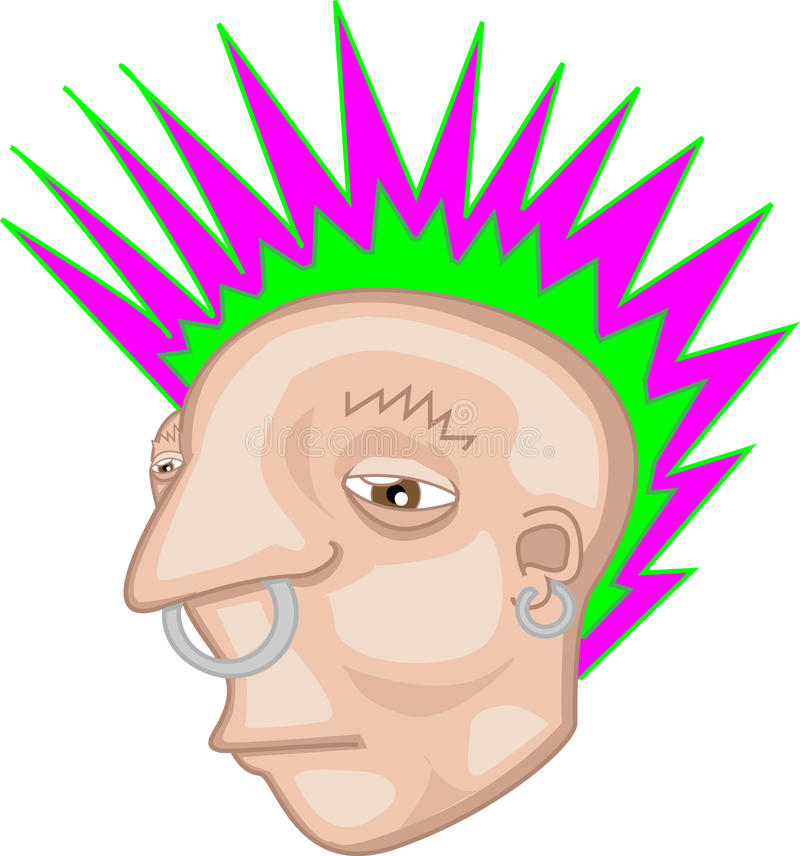 Punk rocker illustration. An illustration of a punk rocker with a Mohawk and piercings vector illustration