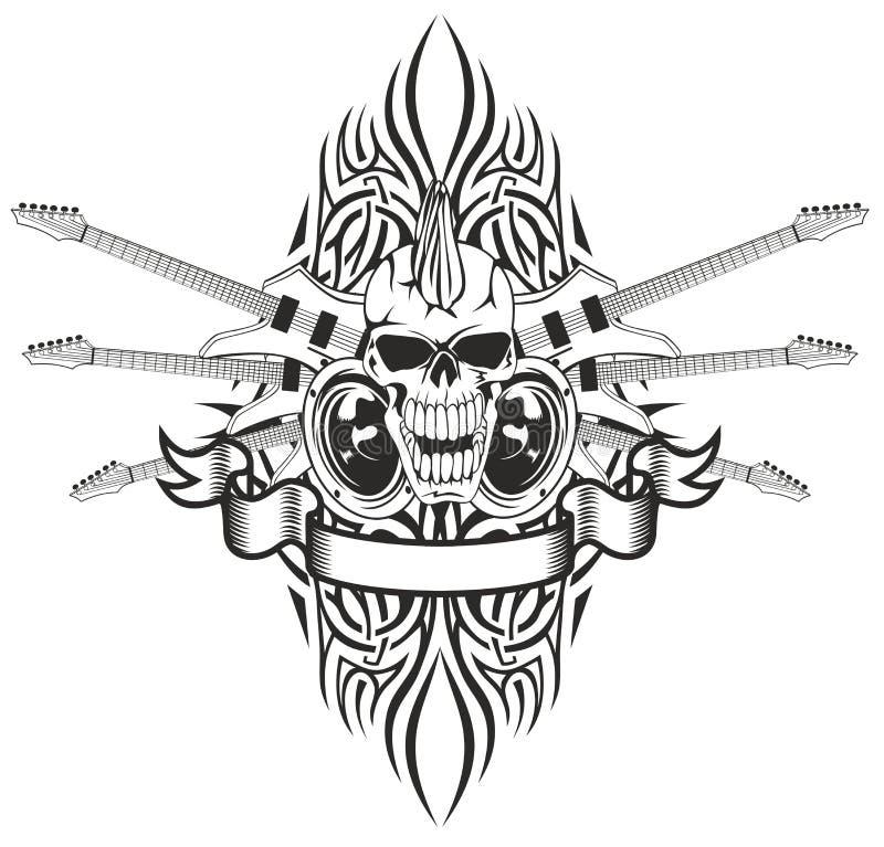 Punk schedel met gitaren stock illustratie