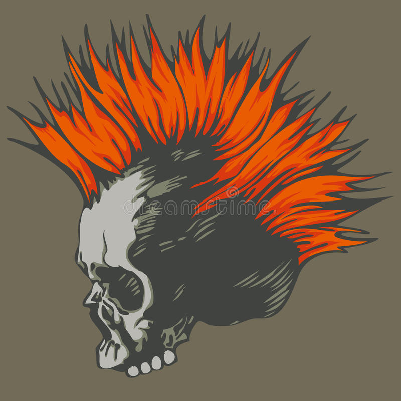 Punk skull. Vector illustration with punk skull
