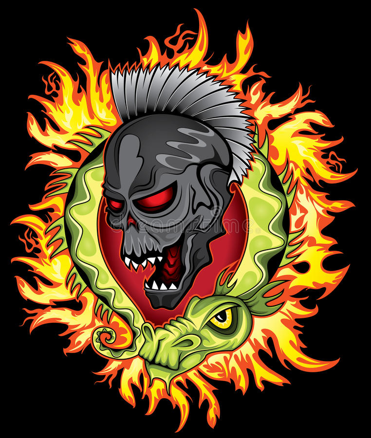 Punk skull face cartoon chinese green dragon in fire flames background royalty free illustration