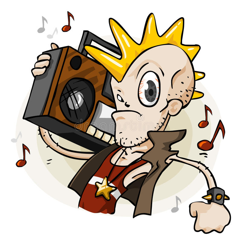 Punk with Stereo. Cartoon Series royalty free illustration