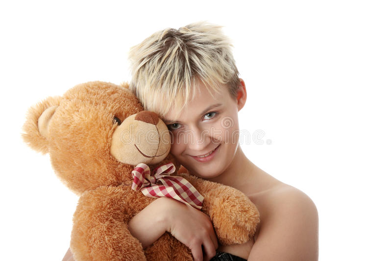Download Punk teen girl with teddy stock image. Image of fashion - 11863109