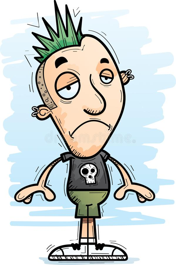 Punk triste de bande dessinée illustration de vecteur