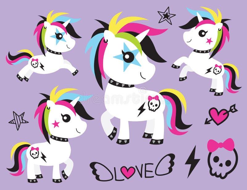 Punk Unicorn Rocker Vector Illustration. Vector illustration of cute punk unicorn rocker with skull tattoo and colorful hair vector illustration