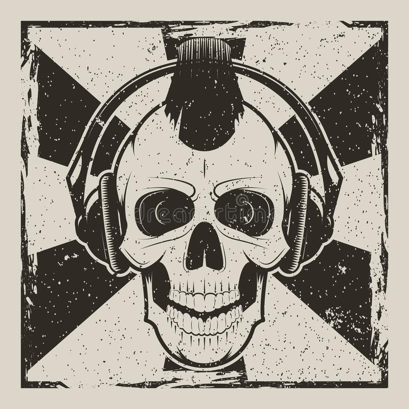 Punk vector uitstekend grungeontwerp van de schedelmuziek vector illustratie