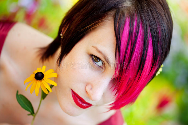 Download Punk woman with flower stock photo. Image of twenties - 23559474