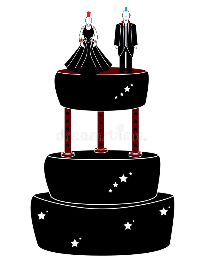 Download Punk Woman And Man On A Cake Stock Illustration - Illustration of chick, suit: 12879633