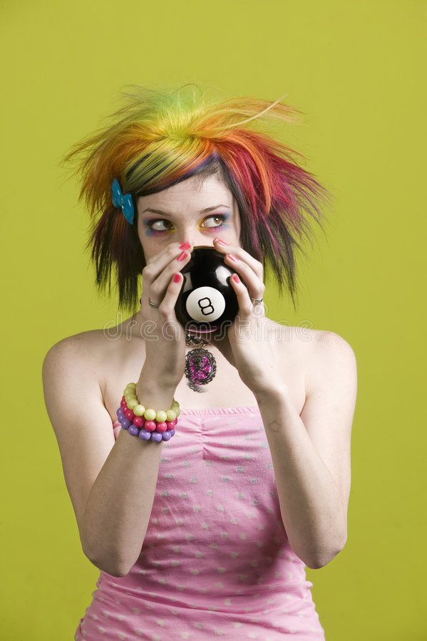 Punk woman with reading the future looks up royalty free stock image