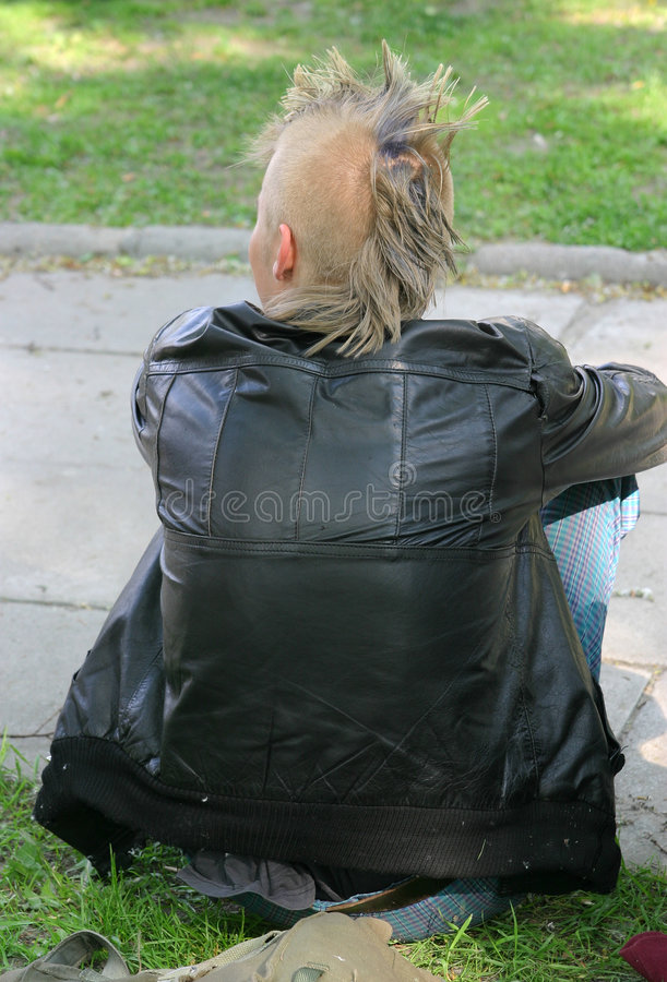 Punker on a grass stock photos