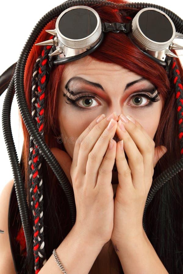 Punker van het meisjes de informele die ciber van de vreestiener op wit wordt geïsoleerd royalty-vrije stock fotografie