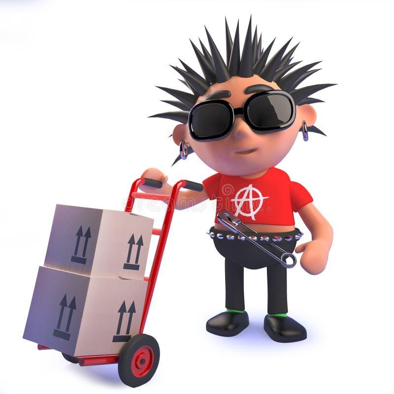 Punkerkarakter in beeldverhaal 3d het leveren pakketten op een handkarretje stock illustratie
