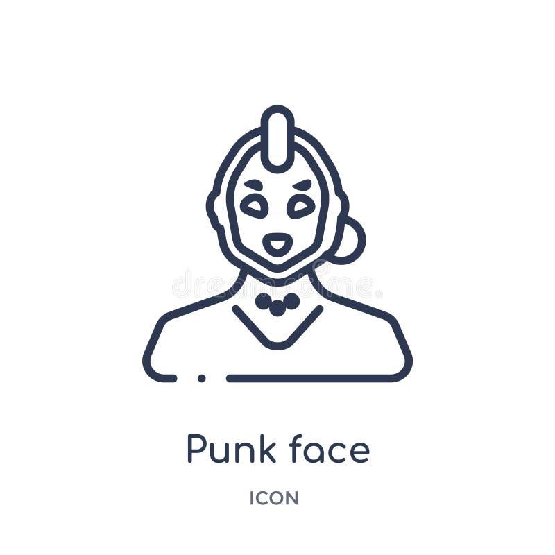 Punkgezichtspictogram van de inzameling van het mensenoverzicht Het dunne pictogram van het lijn punkdiegezicht op witte achtergr royalty-vrije illustratie