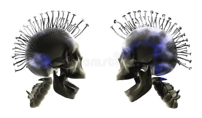 punkowa czaszki ilustracja wektor