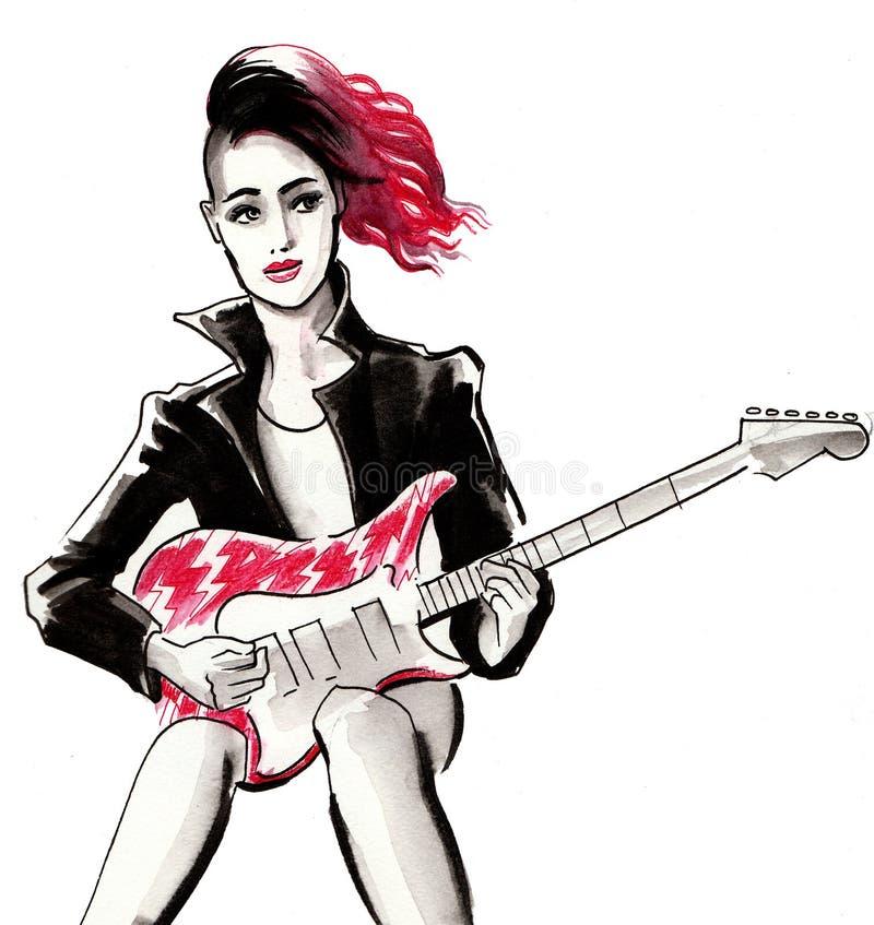Punkowa dziewczyna z gitarą ilustracja wektor