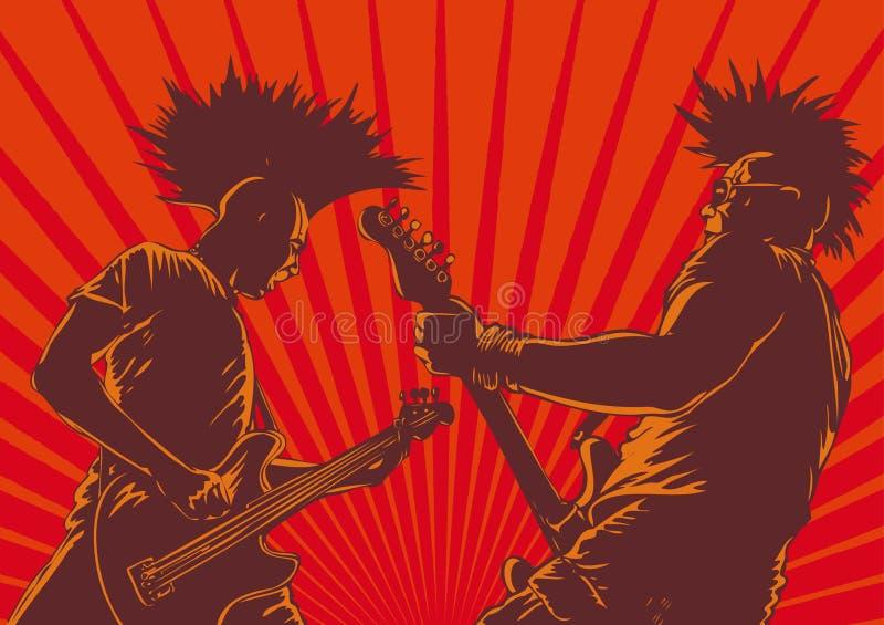punkowi gitara gracze ilustracja wektor