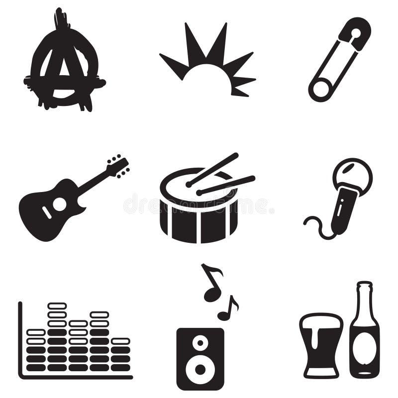 Punkpictogrammen stock illustratie