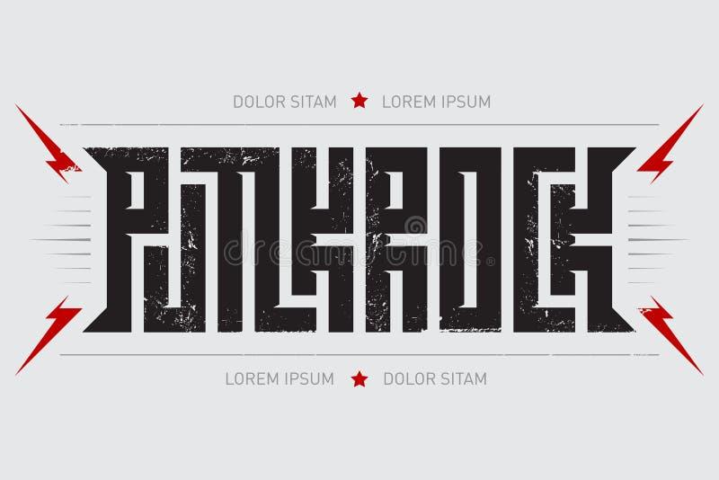 Punkrock -与红色闪电的音乐海报 低劣的摇滚的T恤杉 库存例证