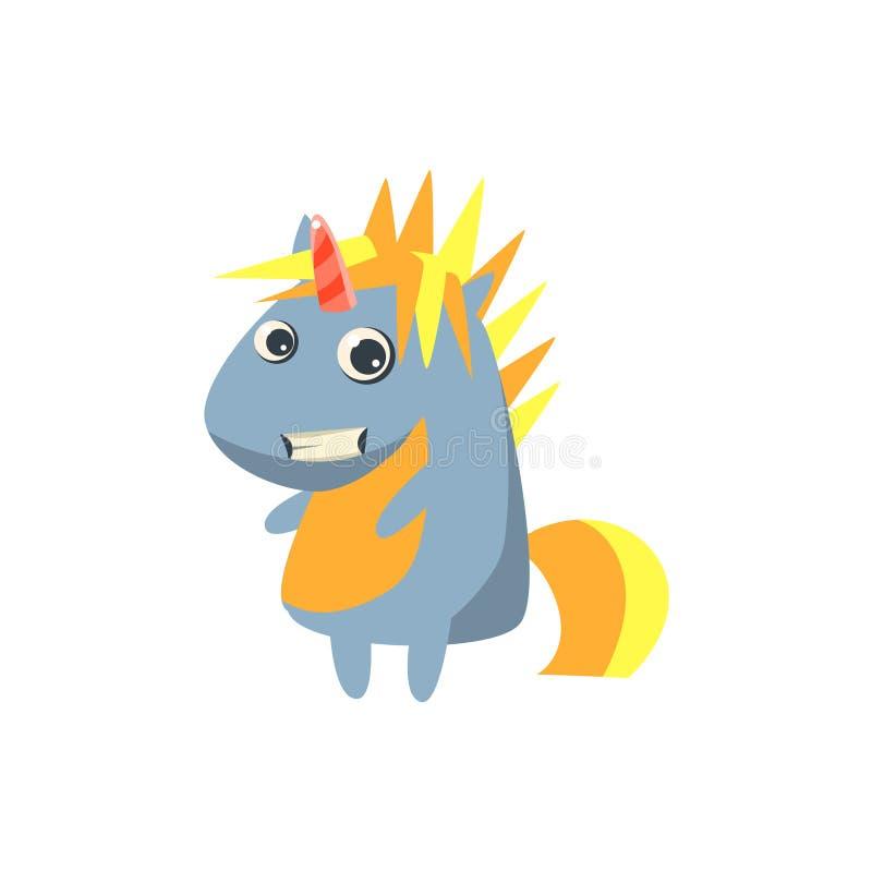 Punkrock Grey Unicorn stock illustrationer