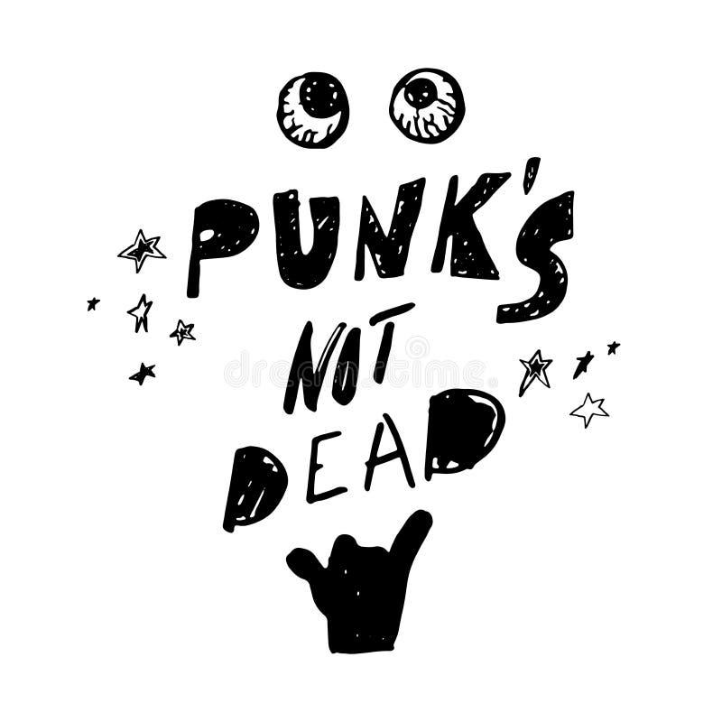 Punkrock inte absolut Handen dragen bokstäver med vaggar gesten, stjärnor och blodar ner ögonglober stock illustrationer
