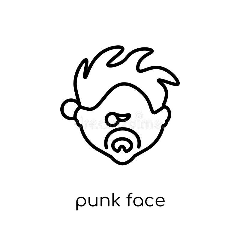 Punkrockframsidasymbol Moderiktig modern plan linjär symbol för vektorpunkrockframsida royaltyfri illustrationer