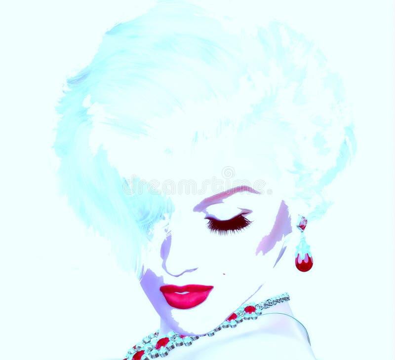 Punkrockkonst, komisk stilblondinflicka Som Marilyn Monroe men vår egen unika digitala konststil vektor illustrationer