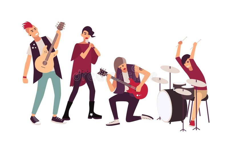 Punkrockmusikband som utför på etapp Grupp av unga tonårs- män och kvinnor med mohawks som sjunger och spelar musik under stock illustrationer
