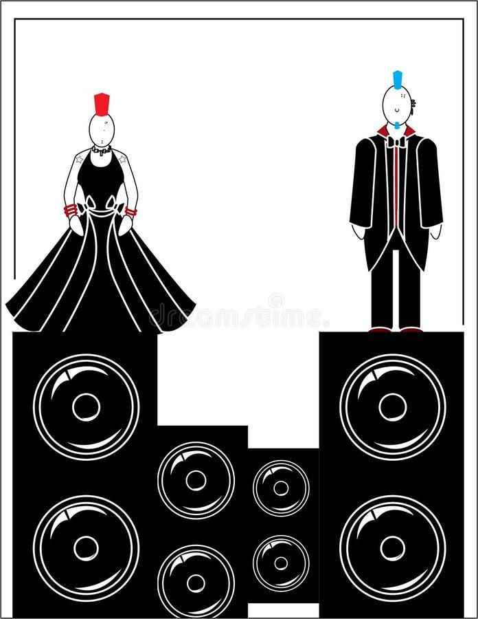 Punks avec les haut-parleurs 4 illustration stock